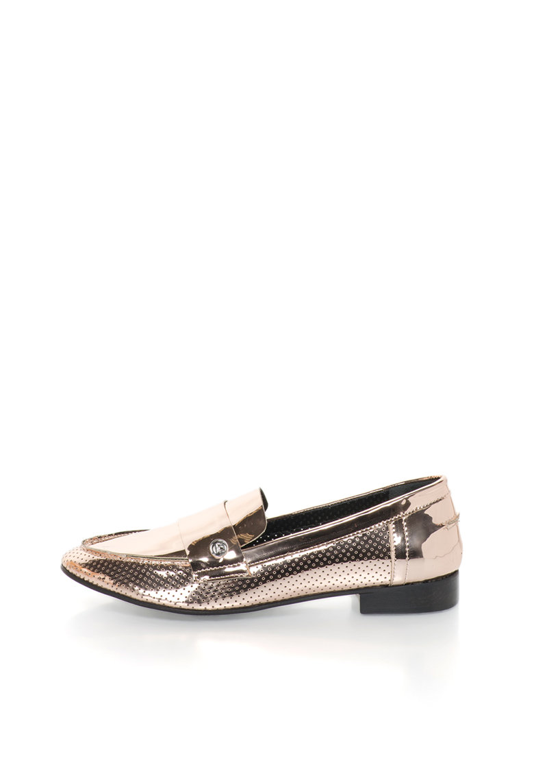 Pantofi loafer auriu rose lacuiti