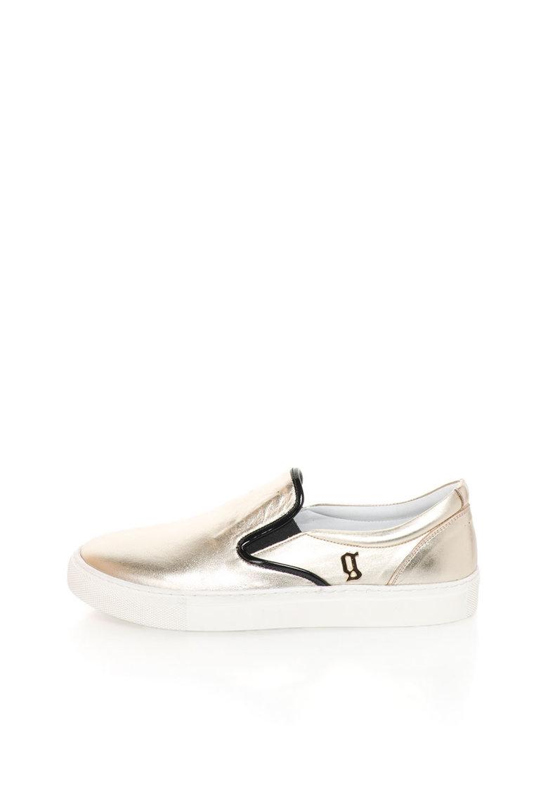 John Galliano Pantofi slip-on auriu deschis de piele