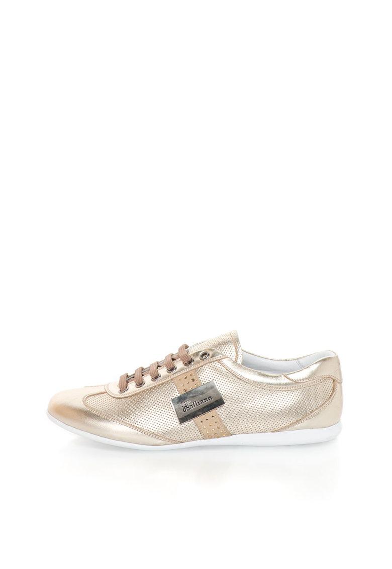 John Galliano Pantofi sport aurii de piele cu strasuri