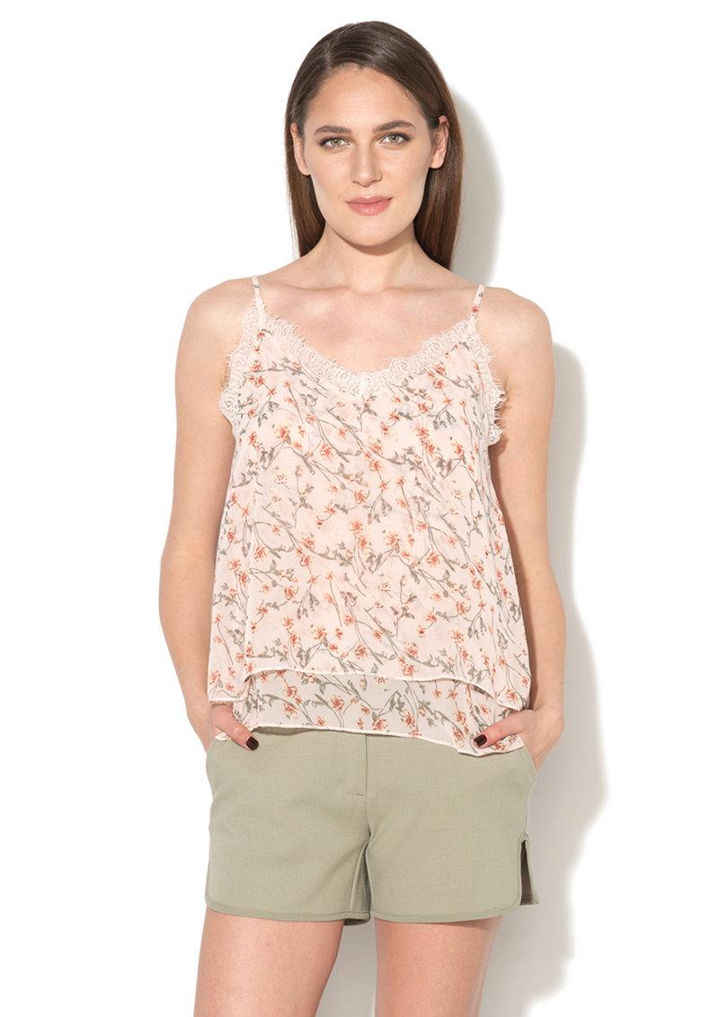 Hailys Top roz deschis cu model floral si garnitura de dantela Yessi