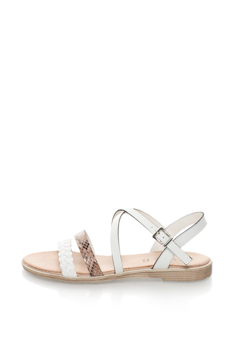 Sandale de piele peliculizata cu barete multiple si detalii cu model sarpe