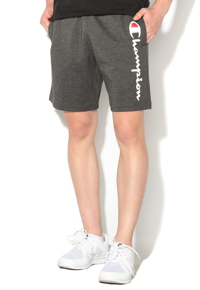 Pantaloni scurti sport comfort fit gri inchis melange