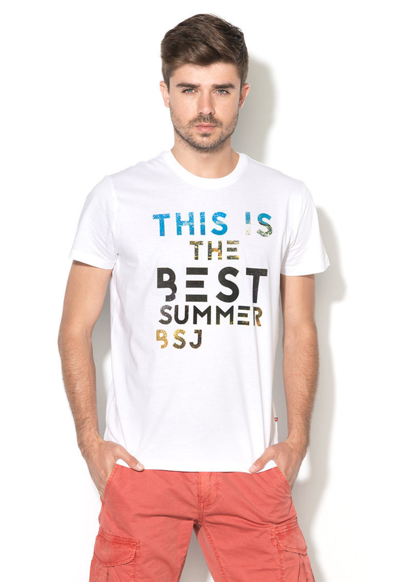Tricou alb cu imprimeu text Lake