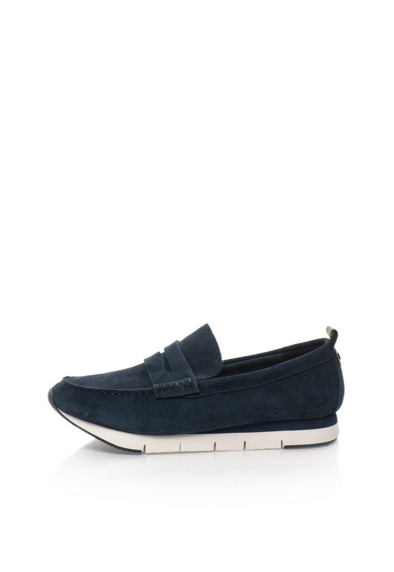 Pantofi loafer bleumarin de piele intoarsa Haben