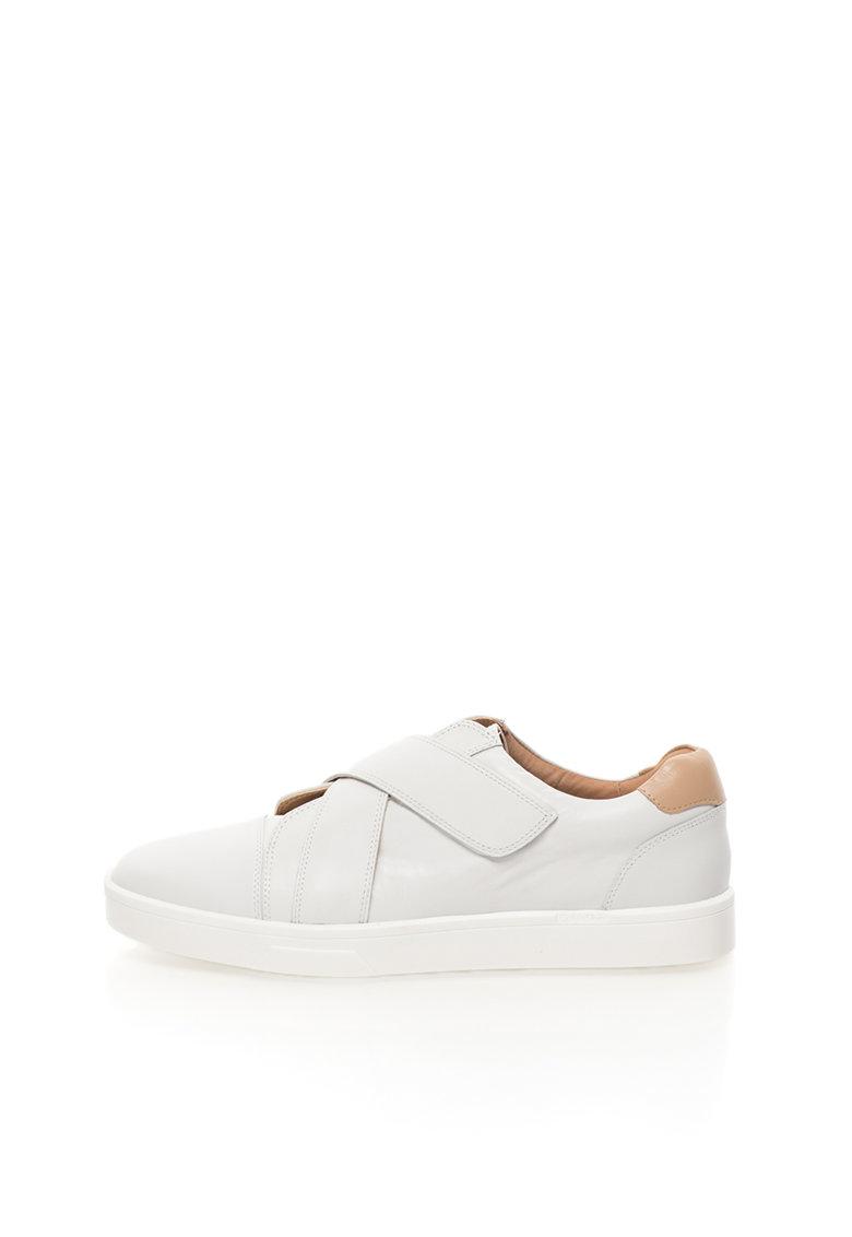 Calvin Klein Pantofi alb prafuit de piele cu velcro Issie