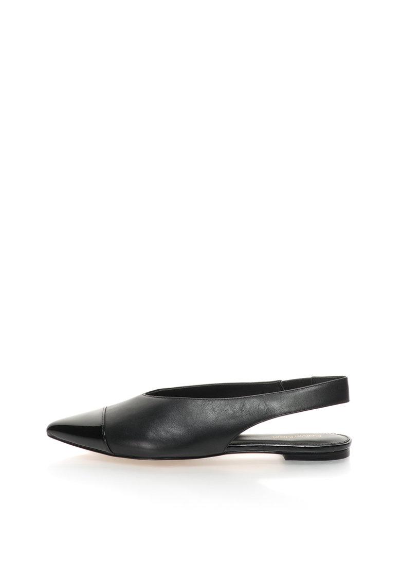 Sandale slingback negre cu varf ascutit Alannah
