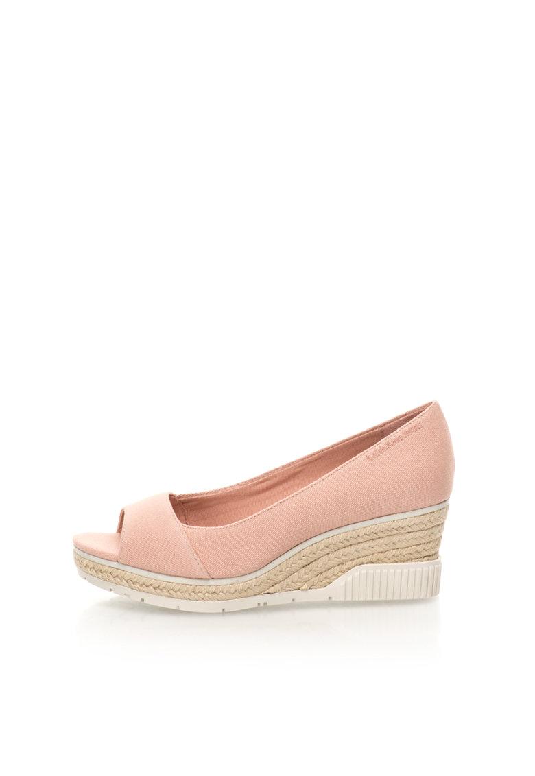 Calvin Klein Jeans Sandale wedge roz deschis de panza cu varf decupat Brit