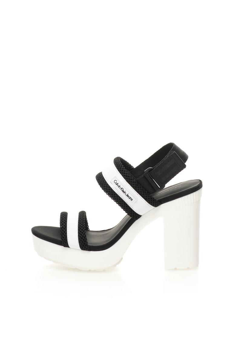 Calvin Klein Jeans Sandale negru si alb cu toc masiv Lalita