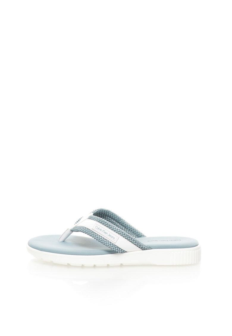 Papuci flip-flop albastru pal cu alb Mahal