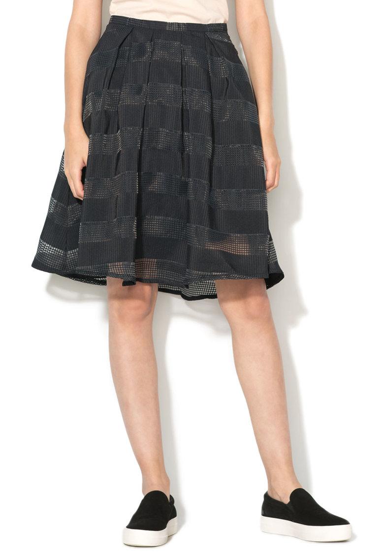 Vero Moda Fusta evazata neagra cu dungi texturate Rakel