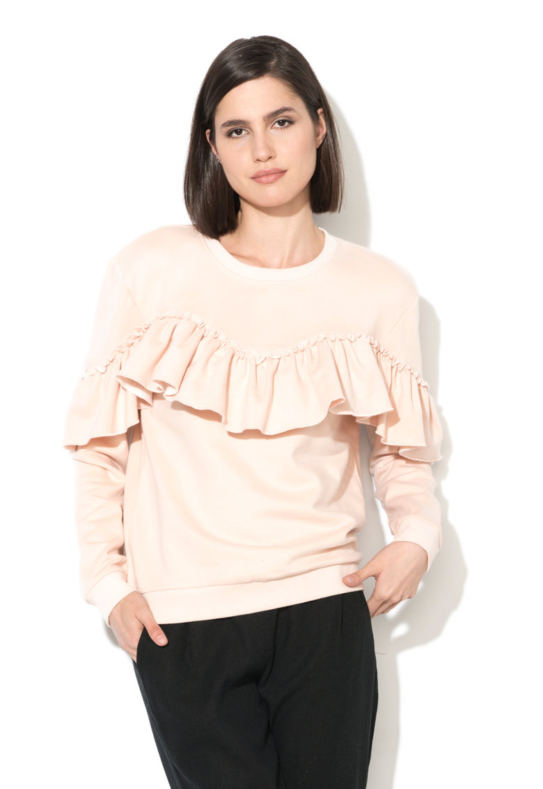 Only Bluza sport roz piersica cu volane Drea