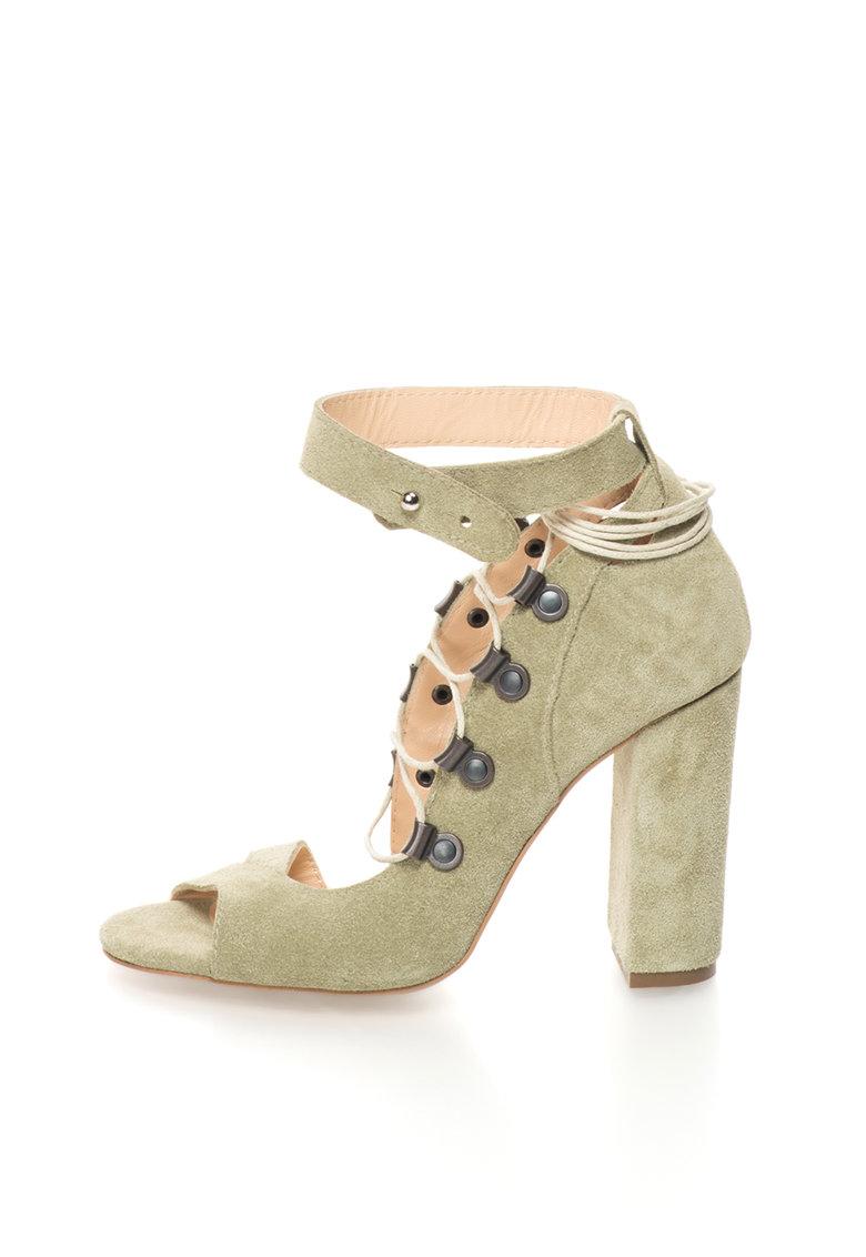 Sandale verde militar de piele intoarsa cu siret de la Mihaela Glavan