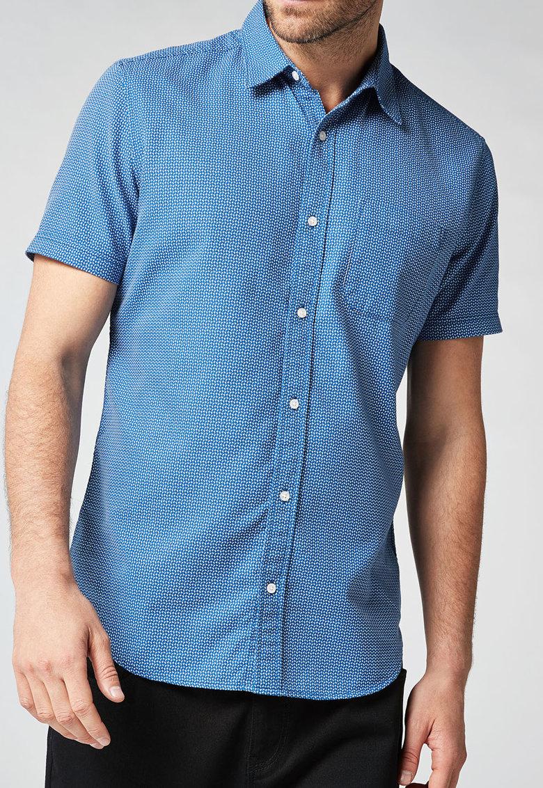 NEXT Camasa albastra texturata si cu maneci scurte