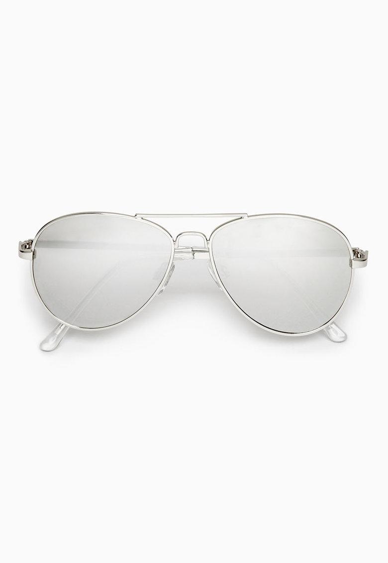 Ochelari de soare aviator argintii