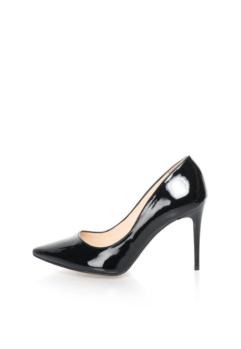 Pantofi negri lacuiti cu varf ascutit Violaine