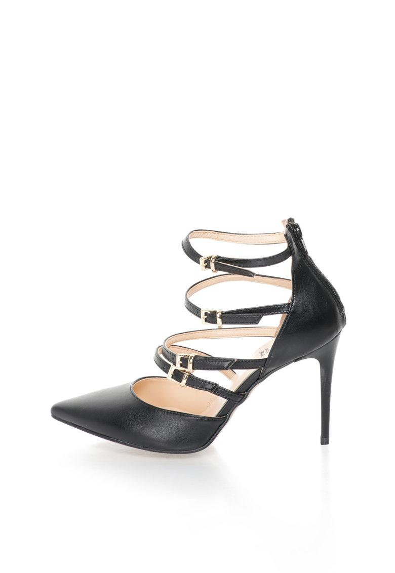 Versace 1969 Abbigliamento Sportivo Pantofi negri cu barete multiple si varf ascutit Seline