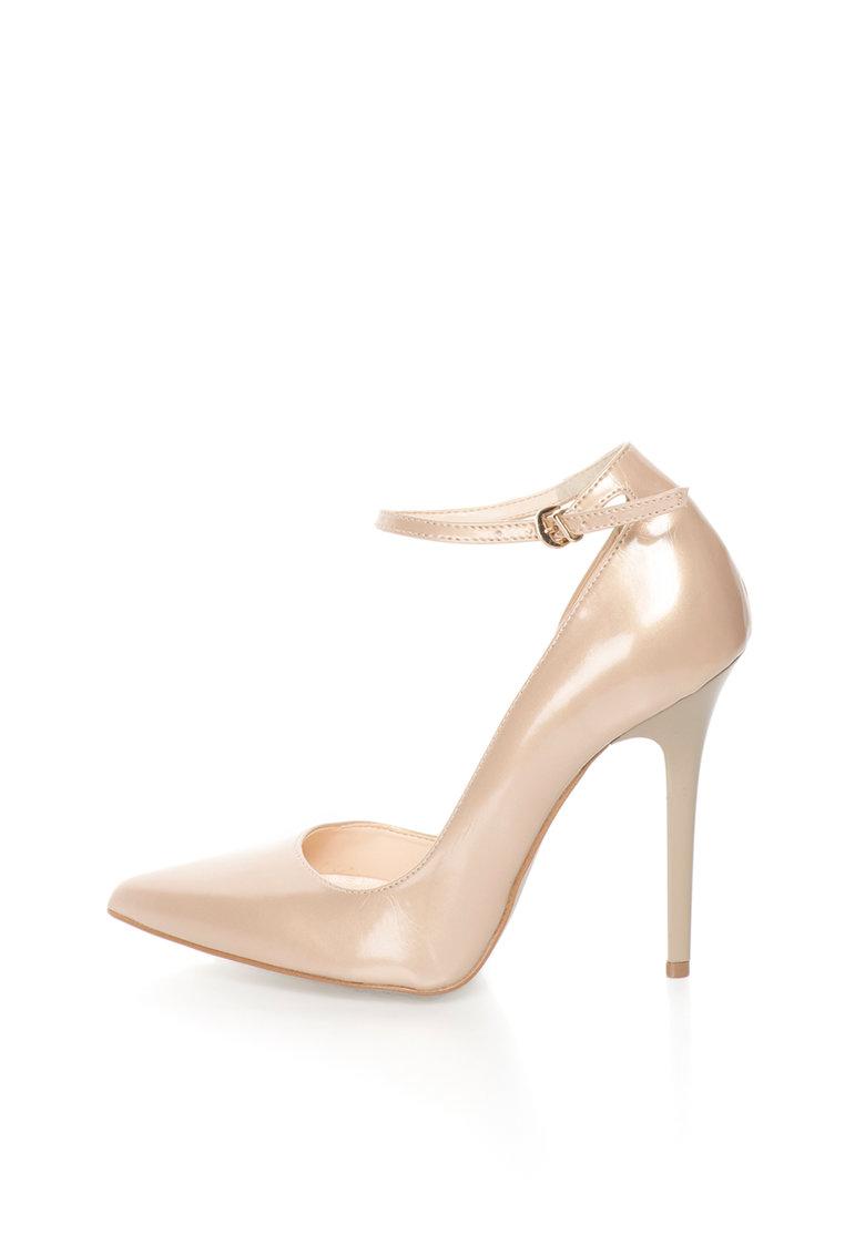Versace 1969 Abbigliamento Sportivo Pantofi bej luciosi cu bareta pe glezna Evelyne