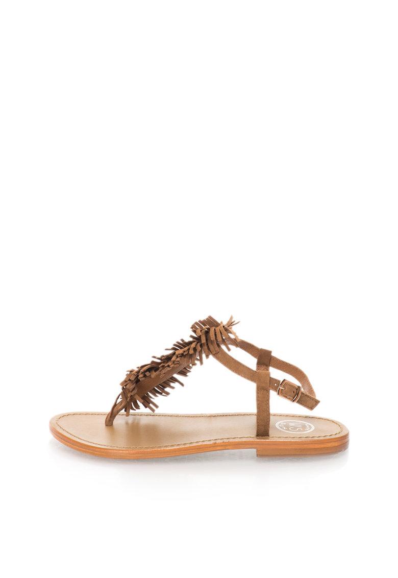 WHITE SUN Sandale maro de piele intoarsa cu bareta separatoare