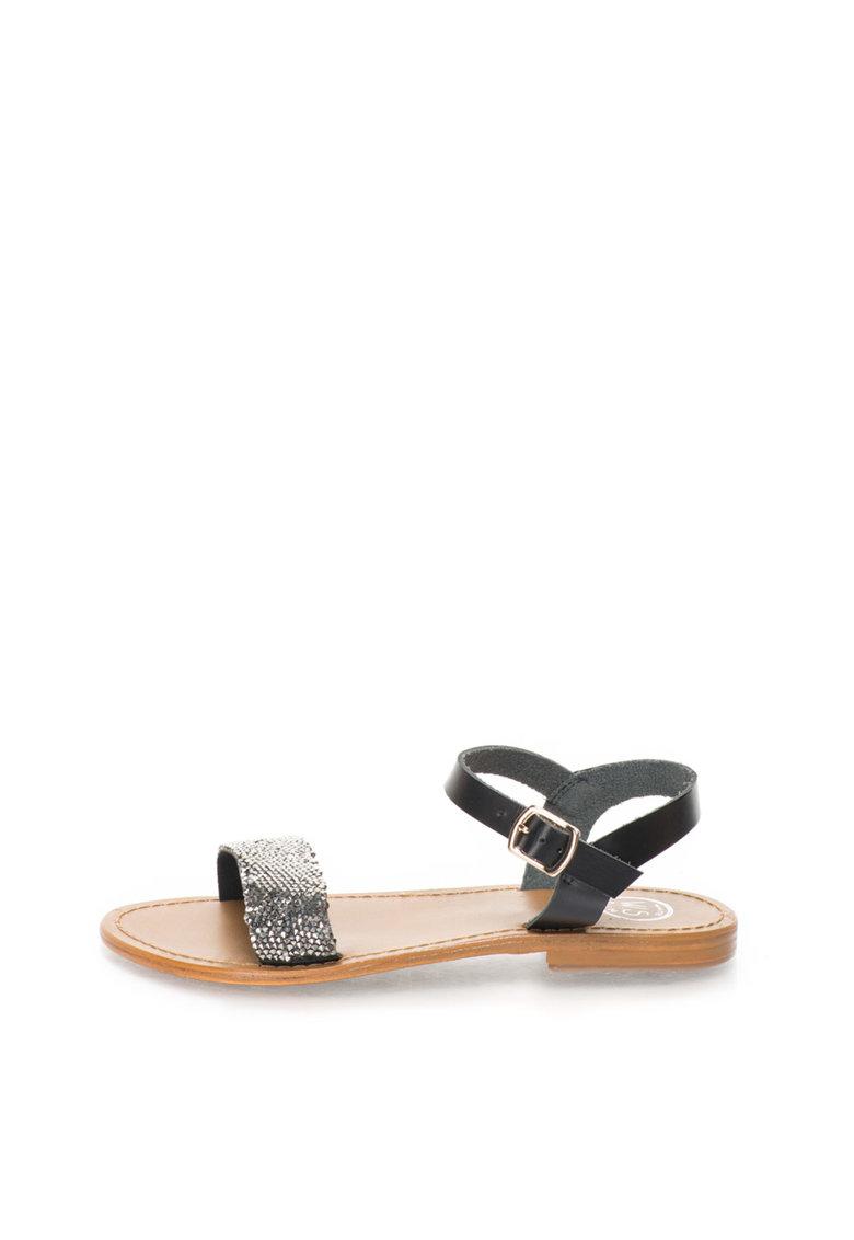 WHITE SUN Sandale negre cu bareta pe glezna si strasuri