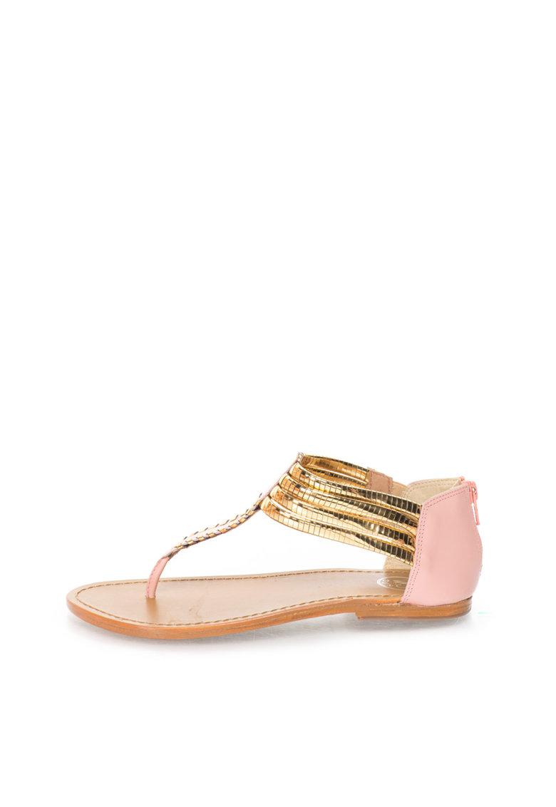 WHITE SUN Sandale auriu si roz cu bareta in forma de T
