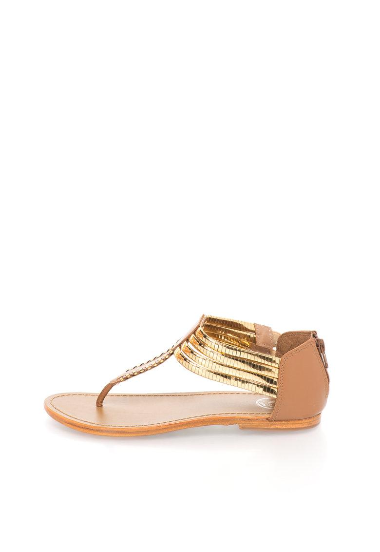 WHITE SUN Sandale maro cu auriu de piele
