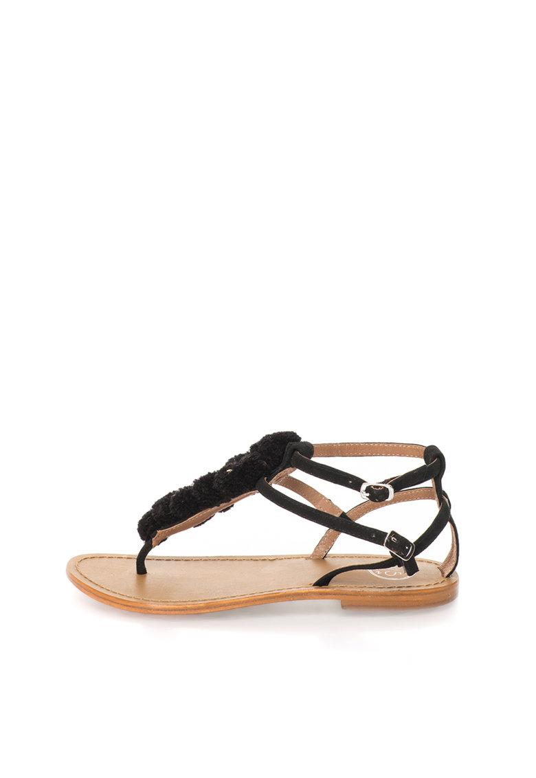 WHITE SUN Sandale negre de piele intoarsa cu ciucuri