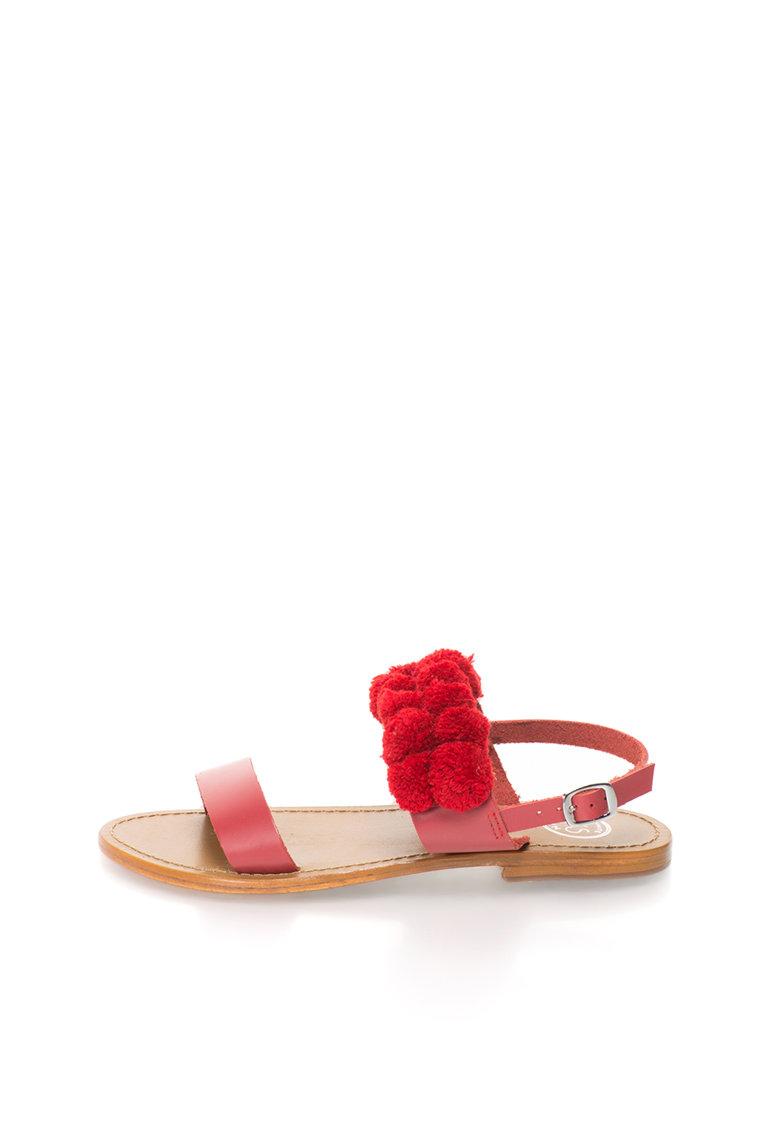 WHITE SUN Sandale slinbgack rosii cu ciucuri