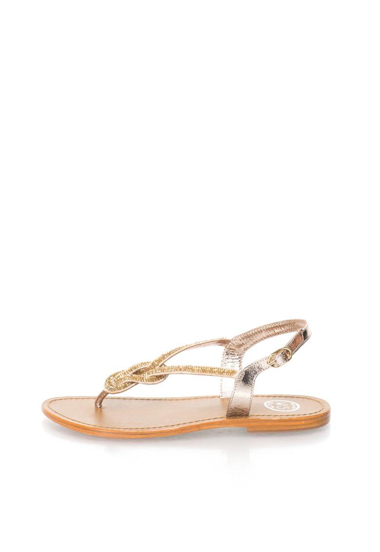 WHITE SUN Sandale argintiu si auriu cu bareta separatoare