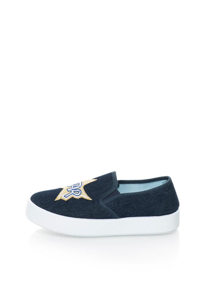 Blink Pantofi slip-on flatform din denim cu design cu aplicatii