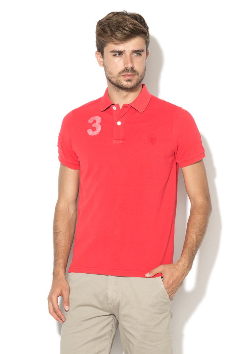 US Polo Assn Tricou polo rosu capsuna Player