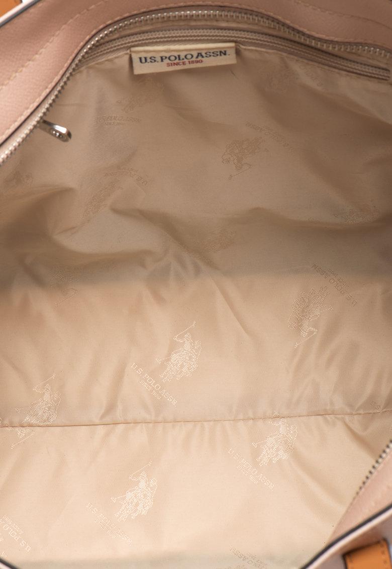 Geanta tote mica de piele sintetica in dungi de la US Polo Assn