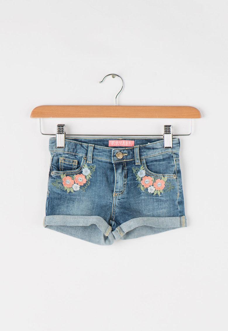 GUESS JEANS Pantaloni scurti cu aplicatii florale