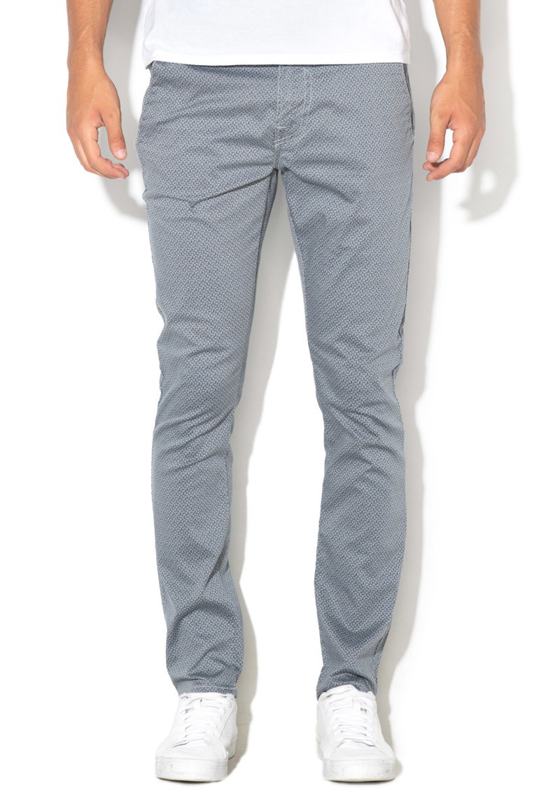 GUESS JEANS Pantaloni chino skinny cu imprimeu grafic Daniel