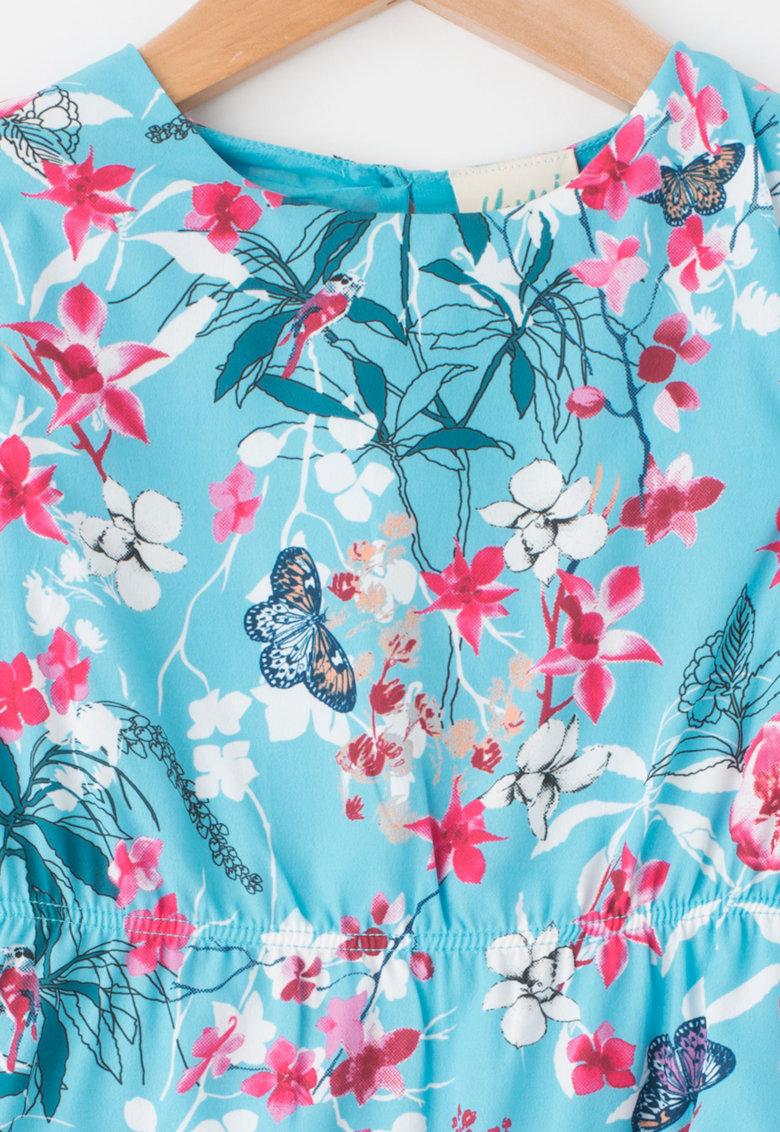 Yumi Rochie cu imprimeu floral – talie elastica si terminatie cu volane
