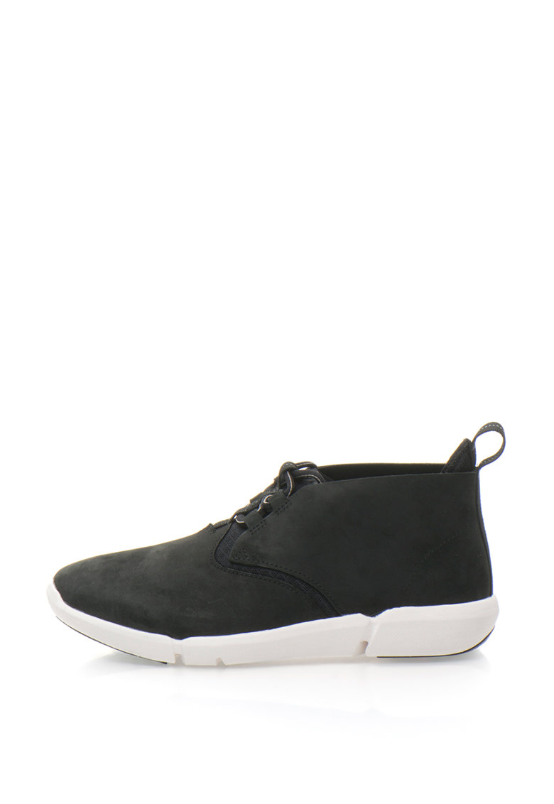 Clarks Pantofi sport slip-on mid-high de piele nabuc si plasa Triflow