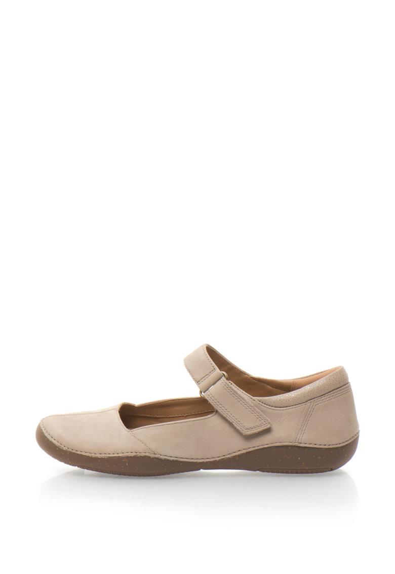 Clarks Pantofi de piele nabuc cu banda velcro Autumn Stone