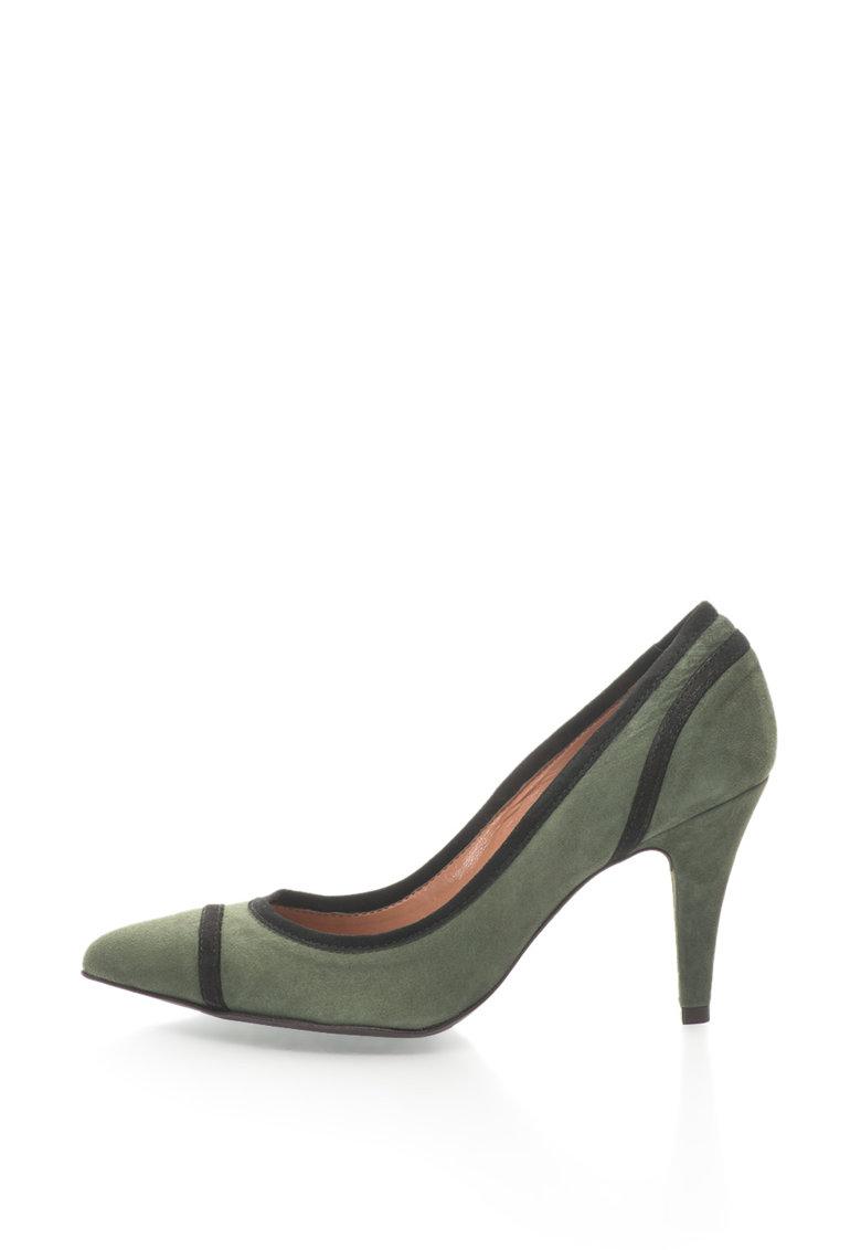 Zee Lane Pantofi de piele intoarsa cu varf ascutit si garnituri contrastante