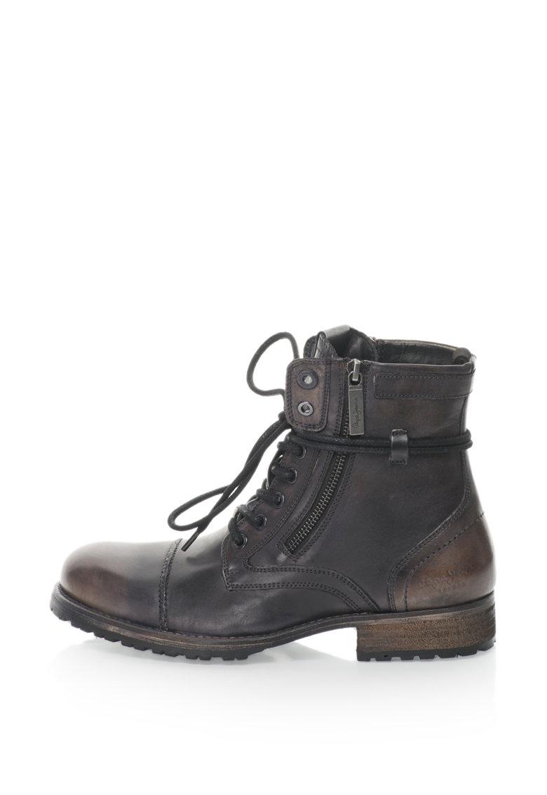 Bocanci de piele cu aspect patinat si aplicatie cap-toe Melting Heritage de la Pepe Jeans