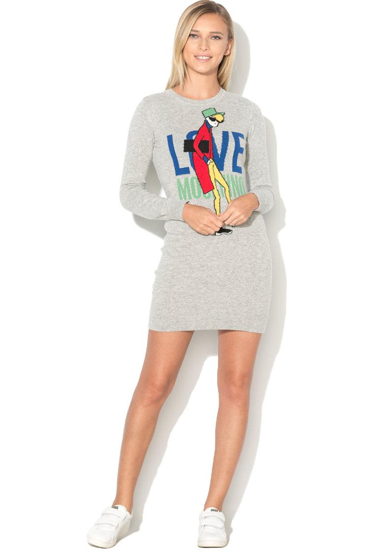 Love Moschino Rochie tip pulover cu imprimeu emblematic