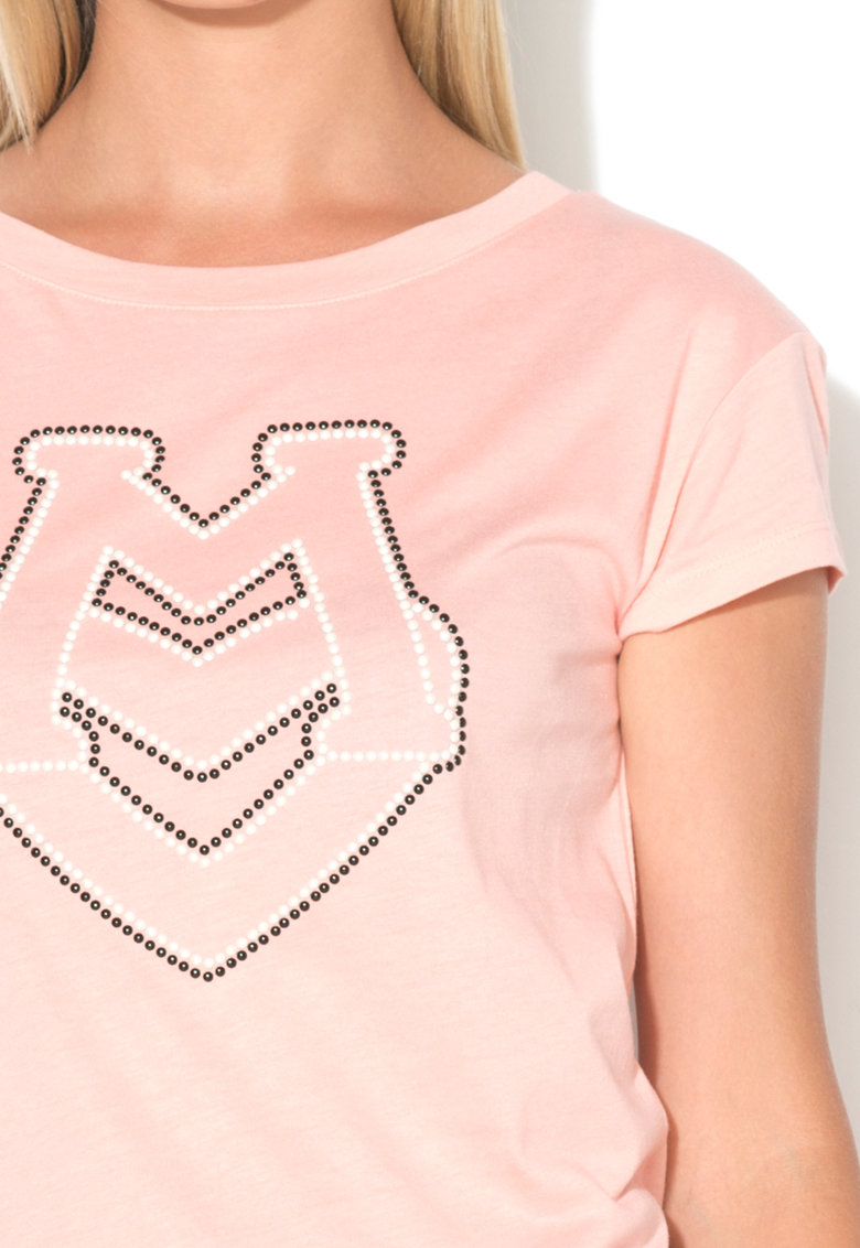 Love Moschino Tricou din amestec de modal cu logo din margele