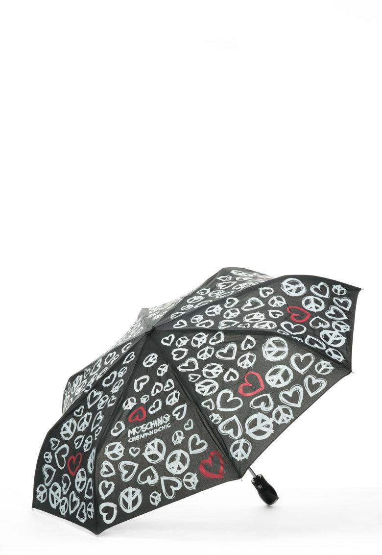 Umbrela telescopica cu imprimeu grafic de la Moschino