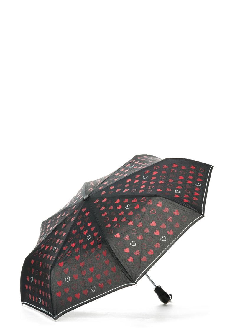 Moschino Umbrela telescopica cu imprimeu inimi