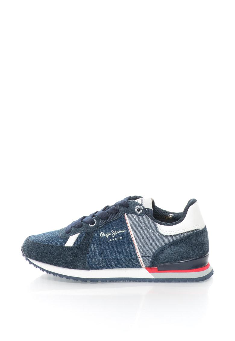 Pepe Jeans Pantofi sport din denim si piele intoarsa Sydney Soul