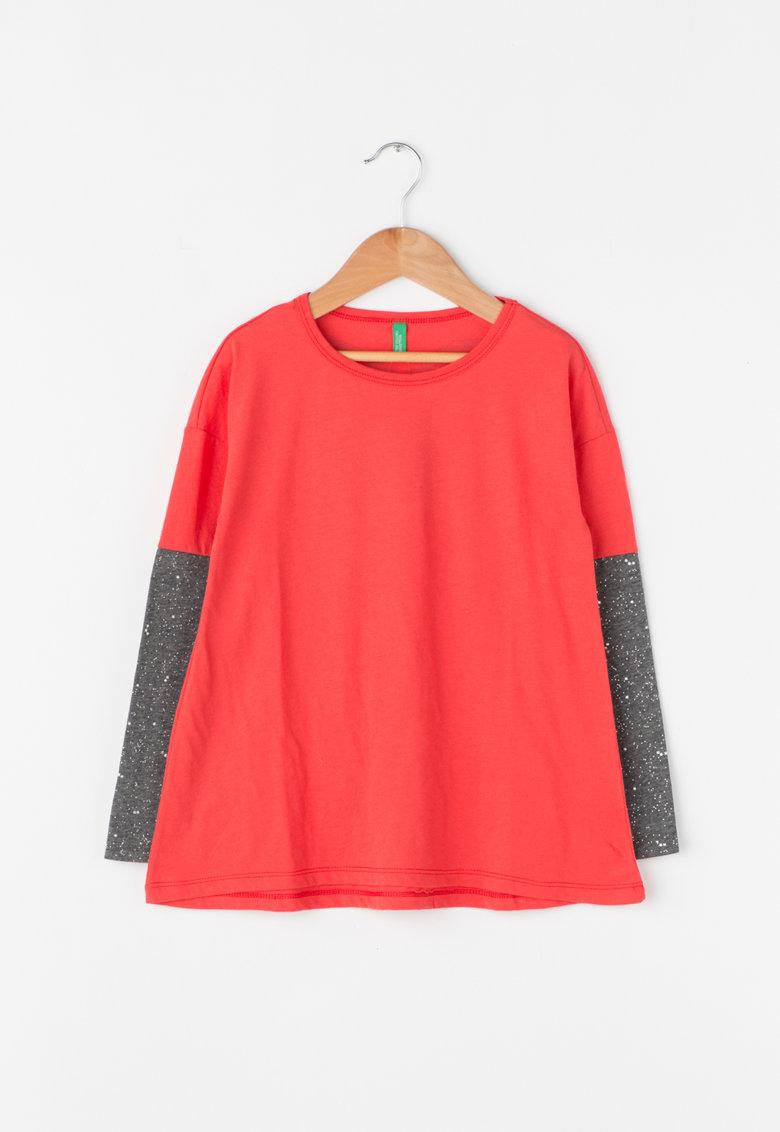 United Colors Of Benetton Bluza cu maneci lungi si particule stralucitoare