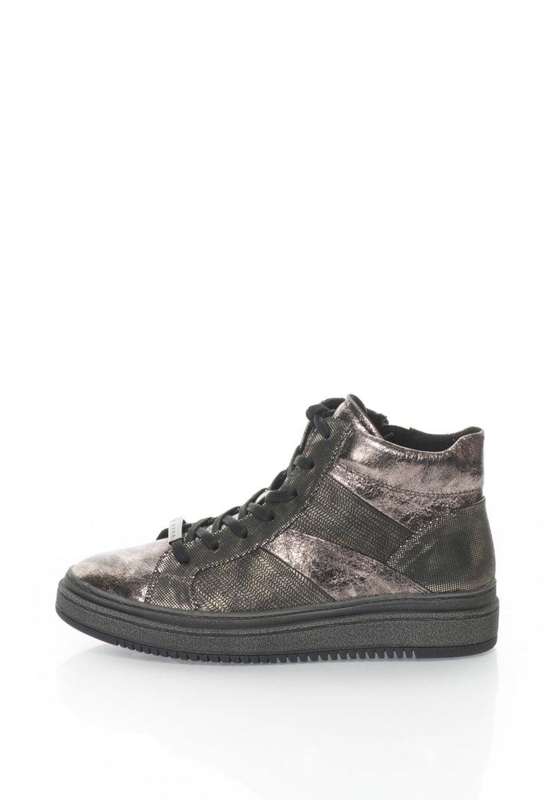 Pantofi sport mid-high de piele cu insertii imprimate de la Tamaris