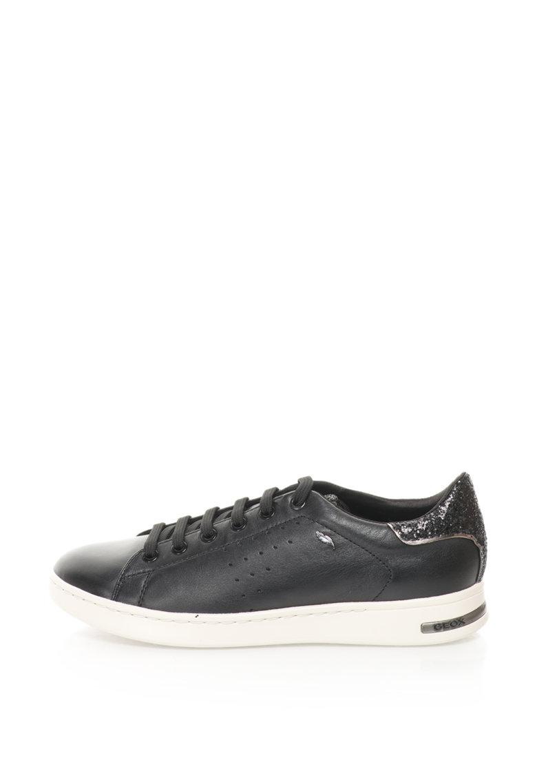 Geox Pantofi sport de piele cu intertii stralucitoare Jaysen