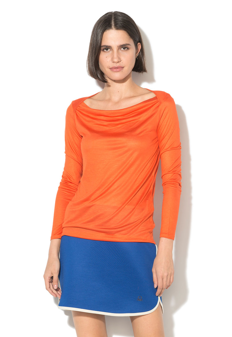 United Colors of Benetton Bluza din modal cu decolteu barcuta cu drapaje