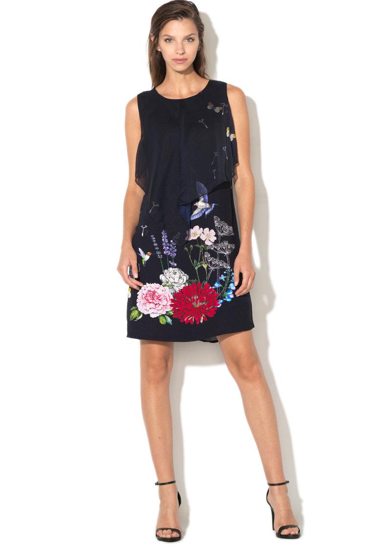 Rochie dreapta cu imprimeu floral Evita