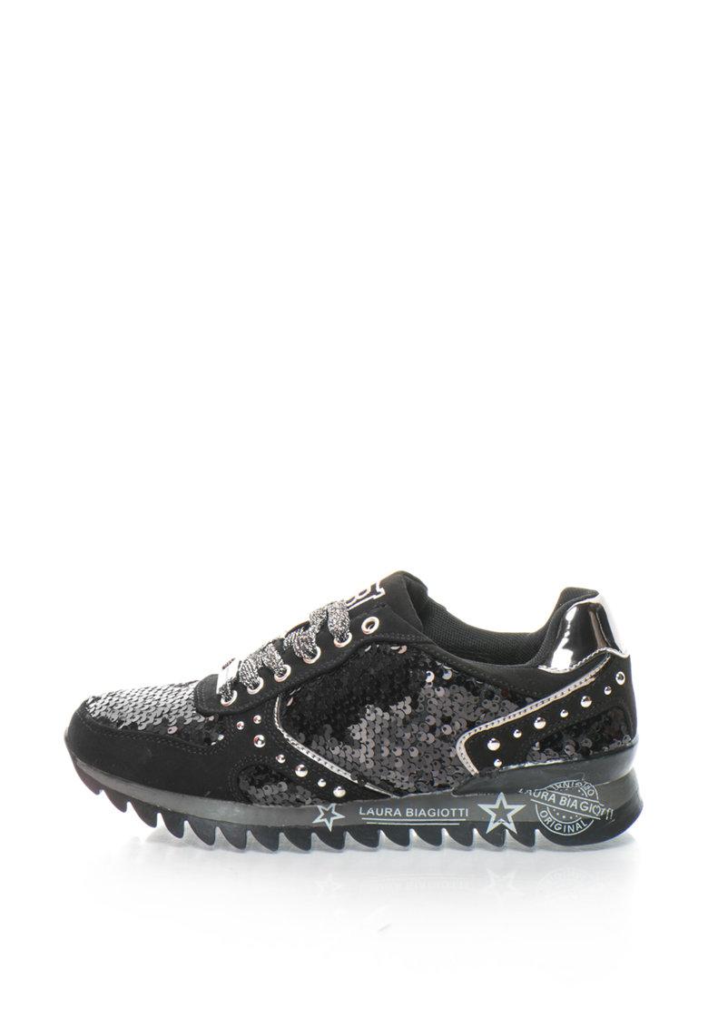 Laura Biagiotti Pantofi sport cu paiete si aplicatie metalica