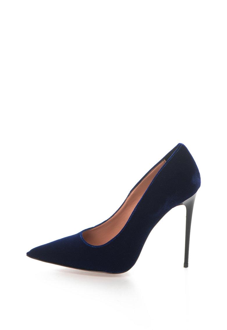Pantofi cu toc inalt si varf ascutit Denise de la Zee Lane – DENISE-510-VELLUTO-BLU-ZNE